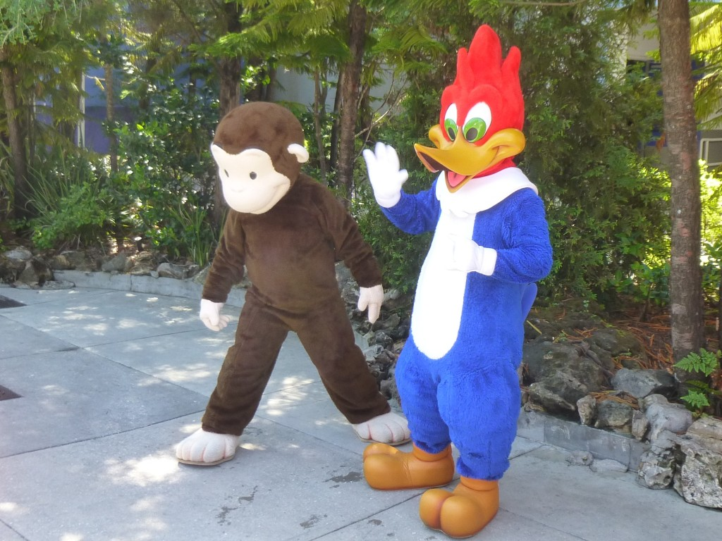 That's all for now! Here's Curious George and Woody Woodpecker waving goodbye on our way out.