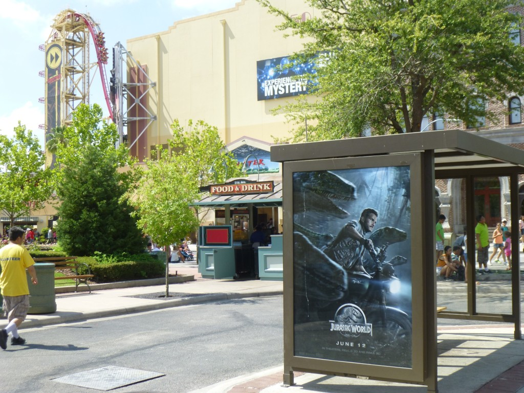 Moving on, I noticed some Jurassic World posters on the bus stop near Twister