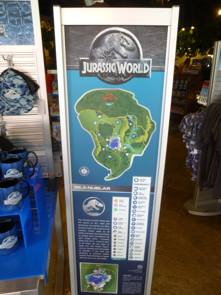 Map of Jurassic World with key showing different attractions