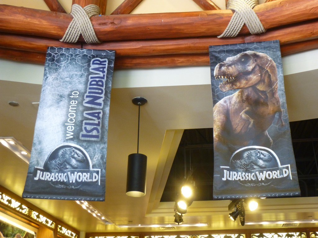 Isla Nublar banner similar to the ones in the film, along with a Tyrannosaurus banner