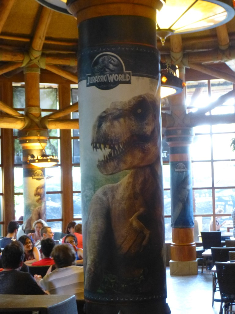 All of the columns have been wrapped in Jurassic World imagery