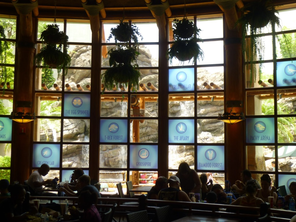 Jurassic World attractions listed on the picture window