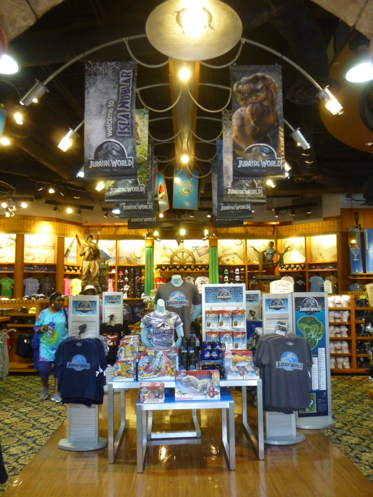Jurassic World taking over middle section of the main store at Port of Entry, on your way to the park exit