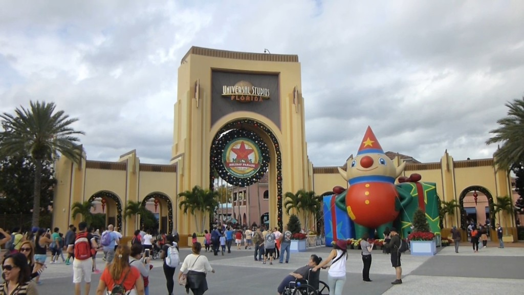 Universal's arch entry all decked out for Christmas and the Macy's Holiday Parade