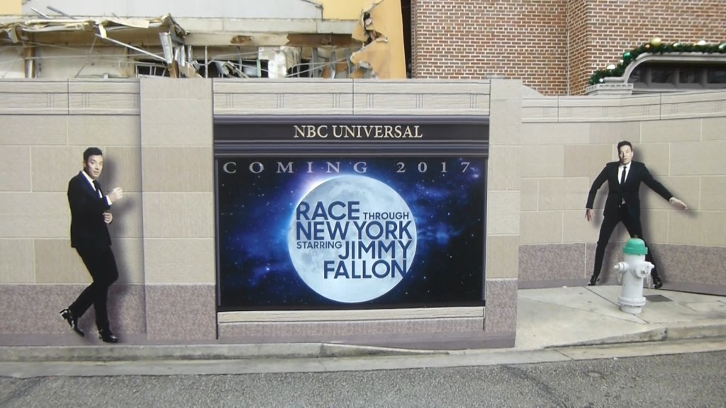 Themed construction walls featuring Jimmy Fallon in various poses