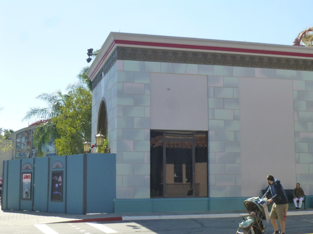 Side of the building facing Brown Derby Hat Shop