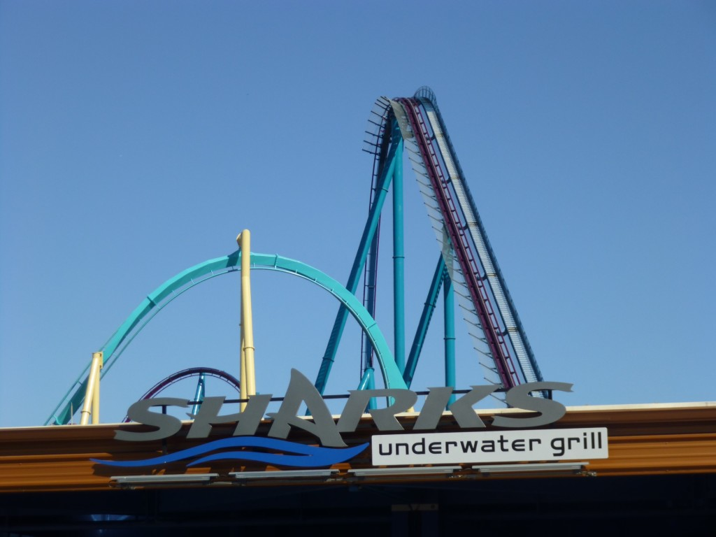 The highest point is the lift here and first drop, seen here behind a portion of Kraken