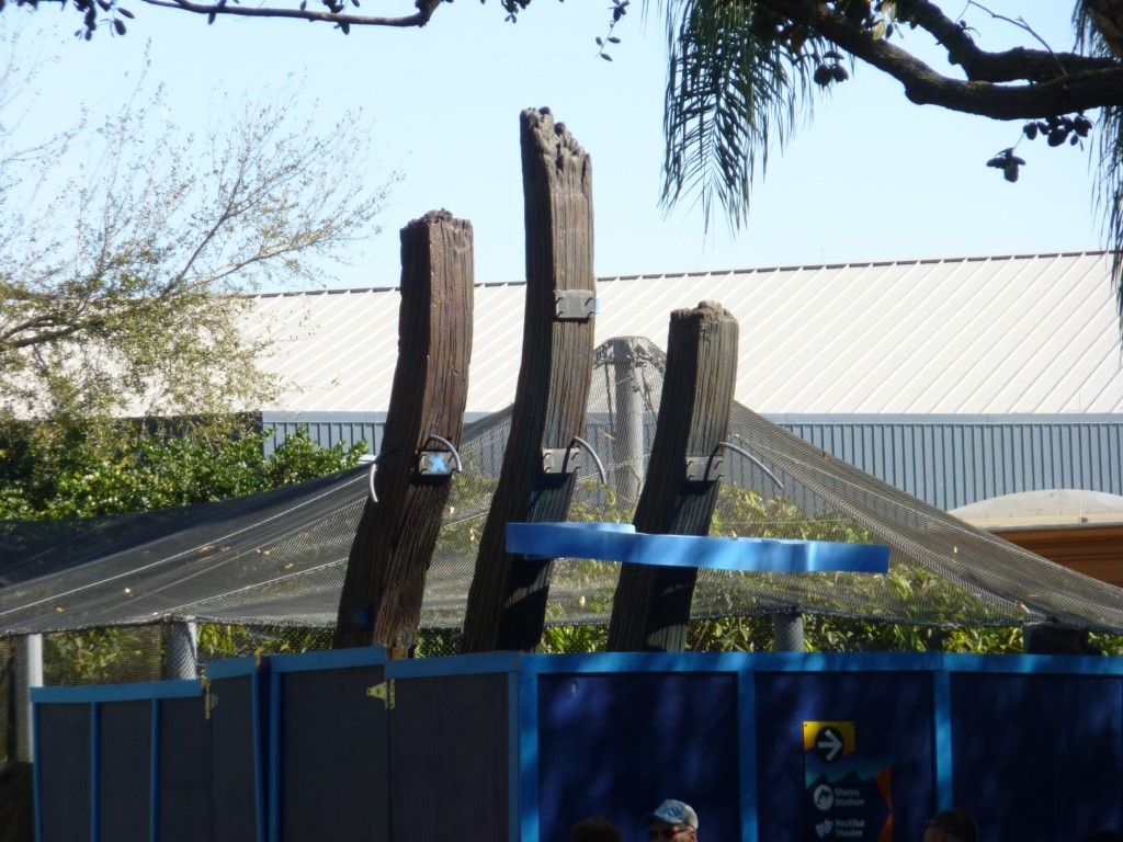 "Portions of the new theming for ""Shark's Realm"" starting to take shape. I believe this will be the sign welcoming you to the area"
