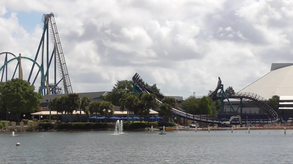 Coaster track flowing over lagoon