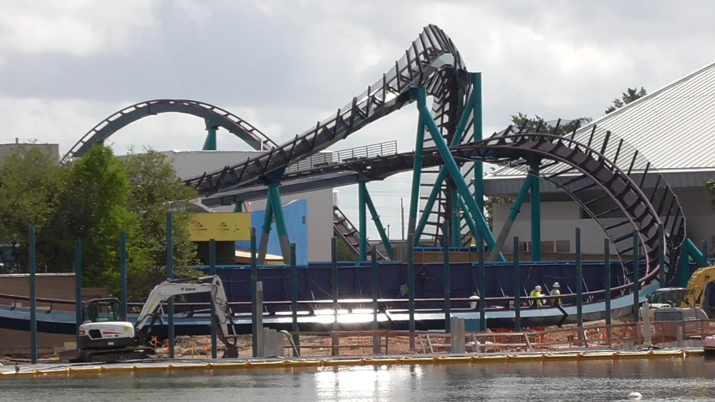 Track over lagoon with new posts in front