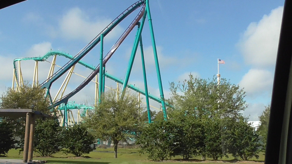 View from the street of one of the incredible banked turns on the coaster