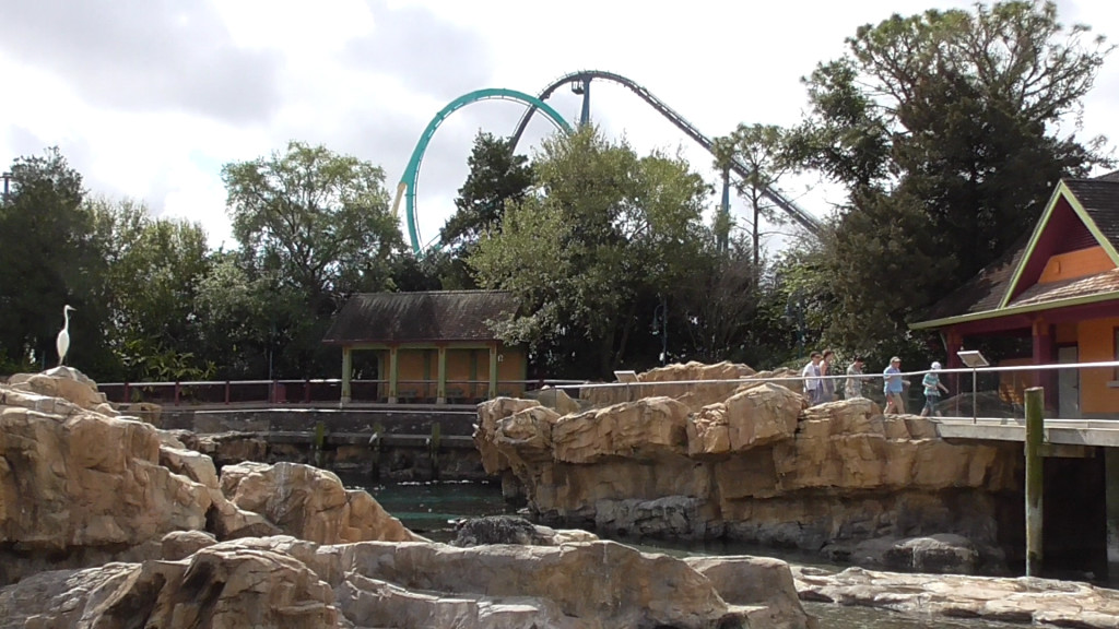 View from inside the park. Kraken loop in front, Mako lift hill in back