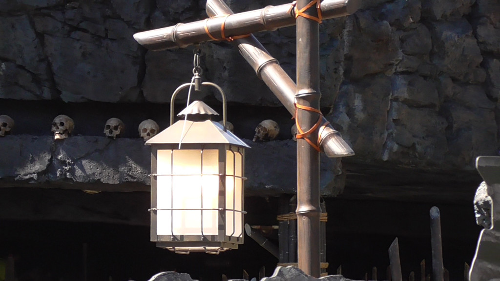 Outdoor lanterns have all been on while work continues during the day