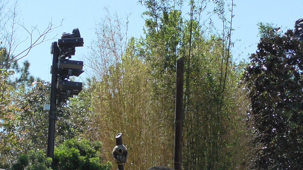 Similar new lighting added near outdoor ride path, facing temple gates