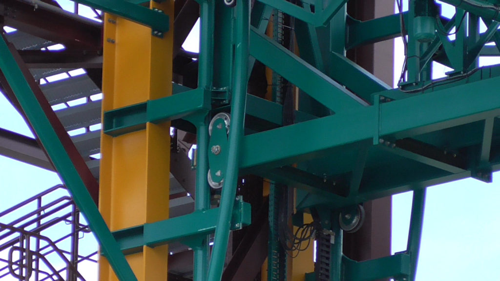 Close up of elevator lift track/mechanism along sides