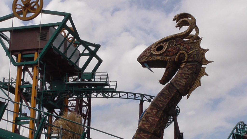 Once all the way to the top, riders will come face to face with Snake King, before cars begin to move forward along track