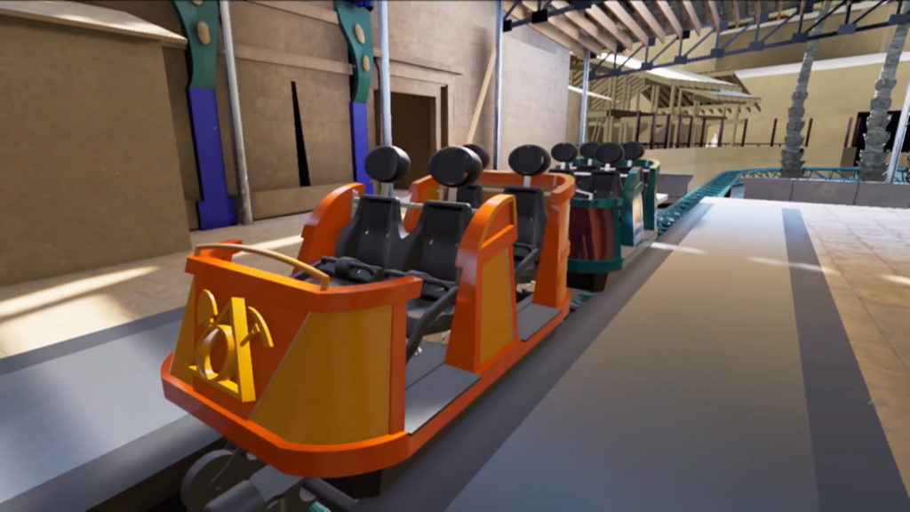 Ride cars at load platform (concept art)