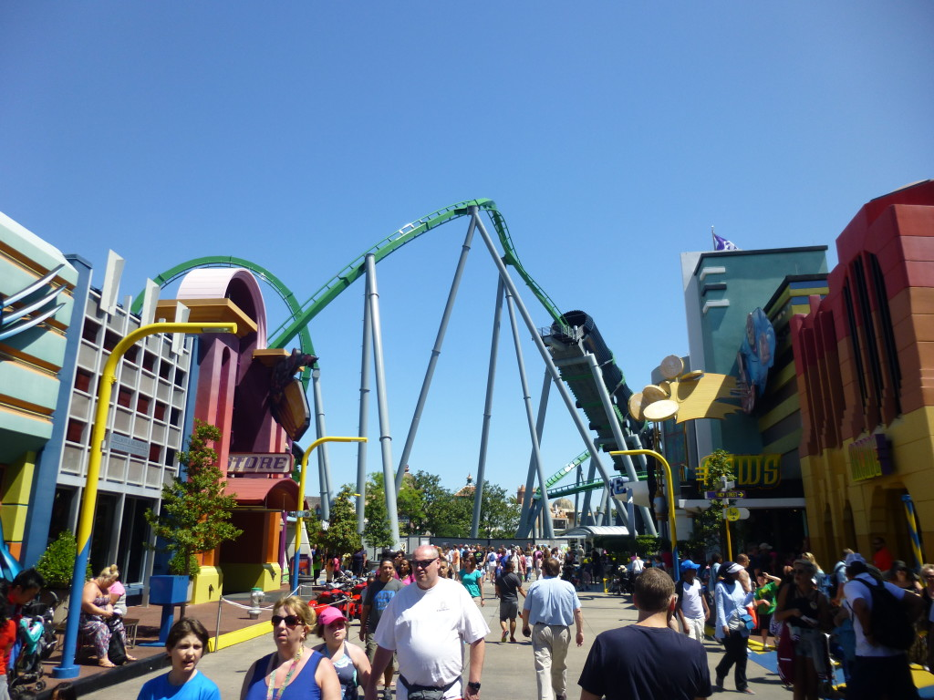 View of the Hulk Coaster from Spiderman