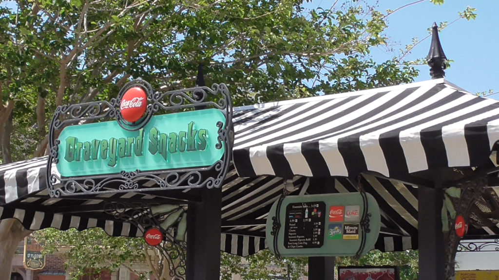 Food stand still themed to Beetlejuice's Graveyard Revue