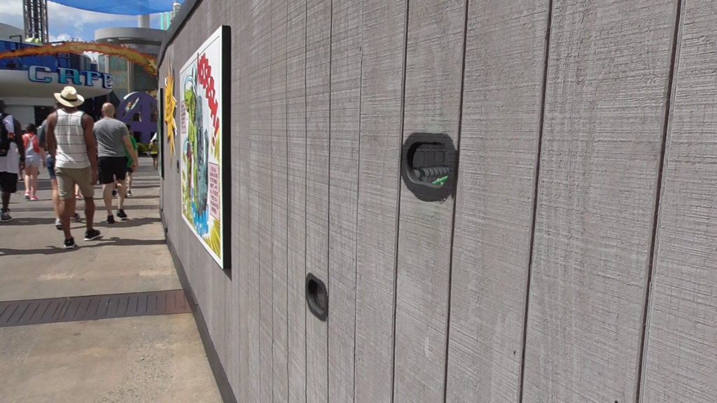 Peek holes have been added to work walls on the bridge for guests to take a look on the progress