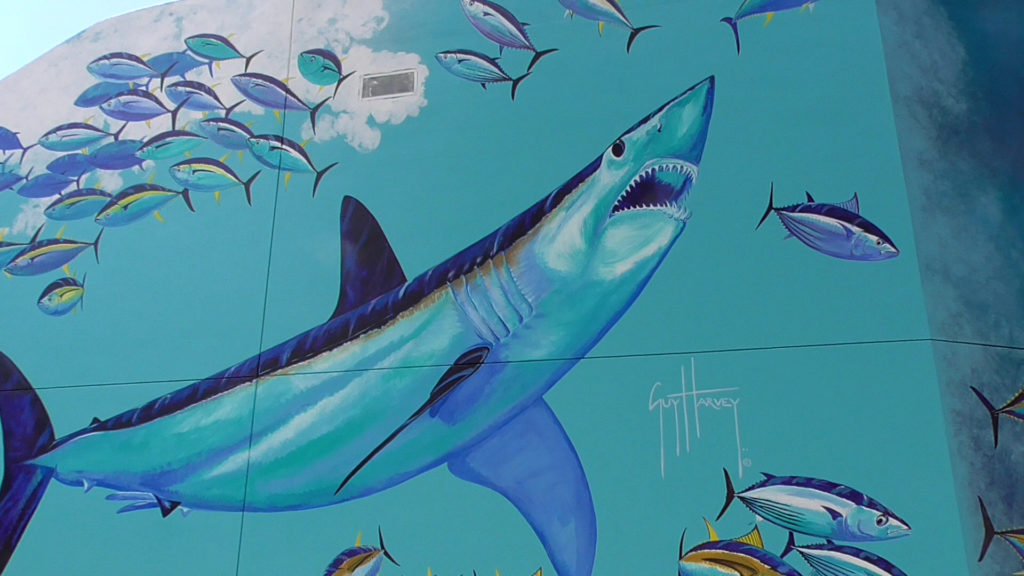 New Guy Harvey original mural on the wall near Mako