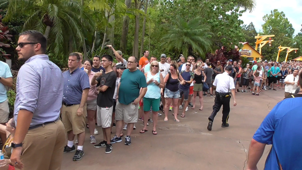Line stretching all the way down to Toon Lagoon