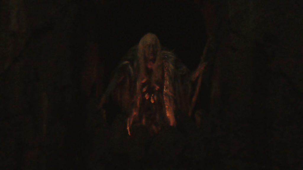 "A closer look at the ""witch"" animatronic, as she summons Kong"