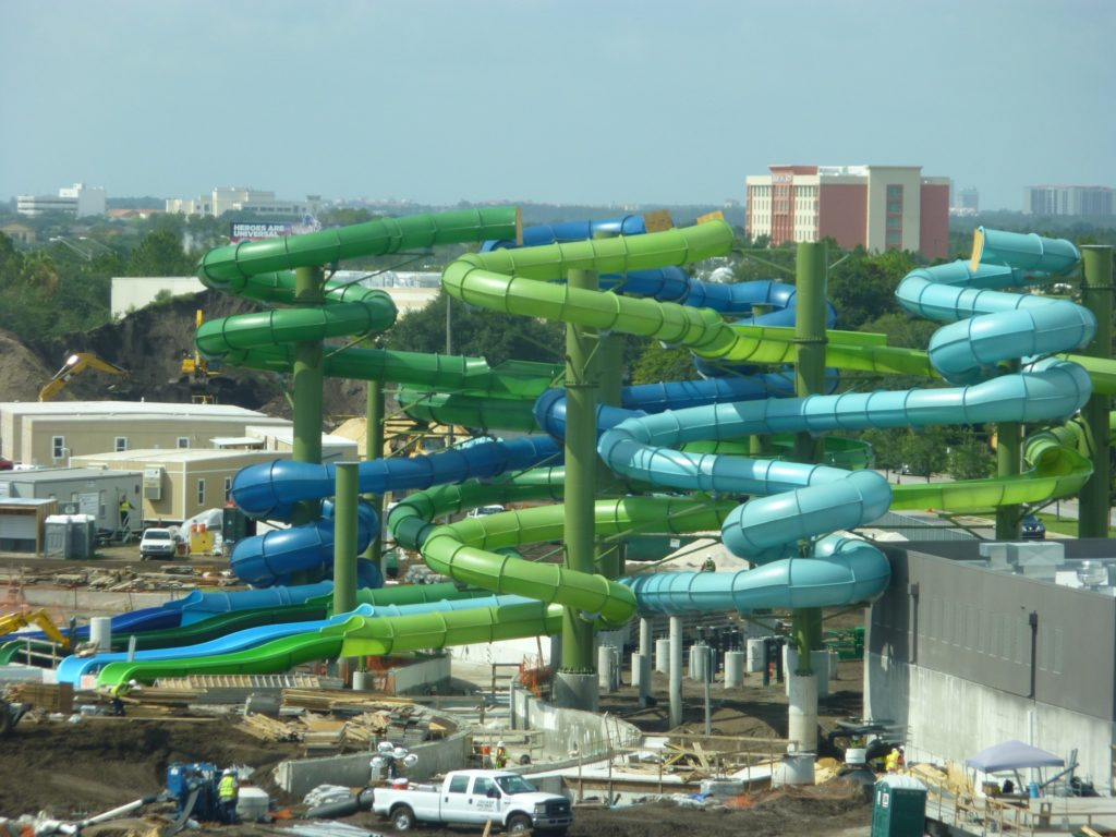 Slides in back of the park are almost ready, and you can see the lazy river running below the slides