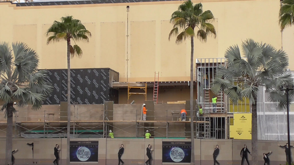 Exterior wall work being done