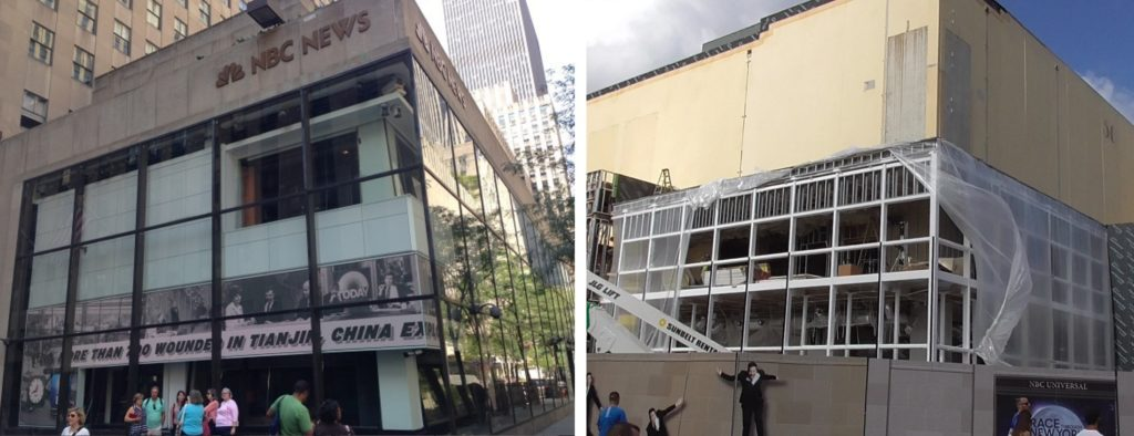 Real NBC Studios in NY on left, Theme Park version on the right (so far)