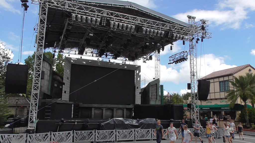 Large temporary stage set up near Battery Park for Horror Nights