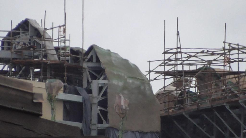 Closer view of facade backside