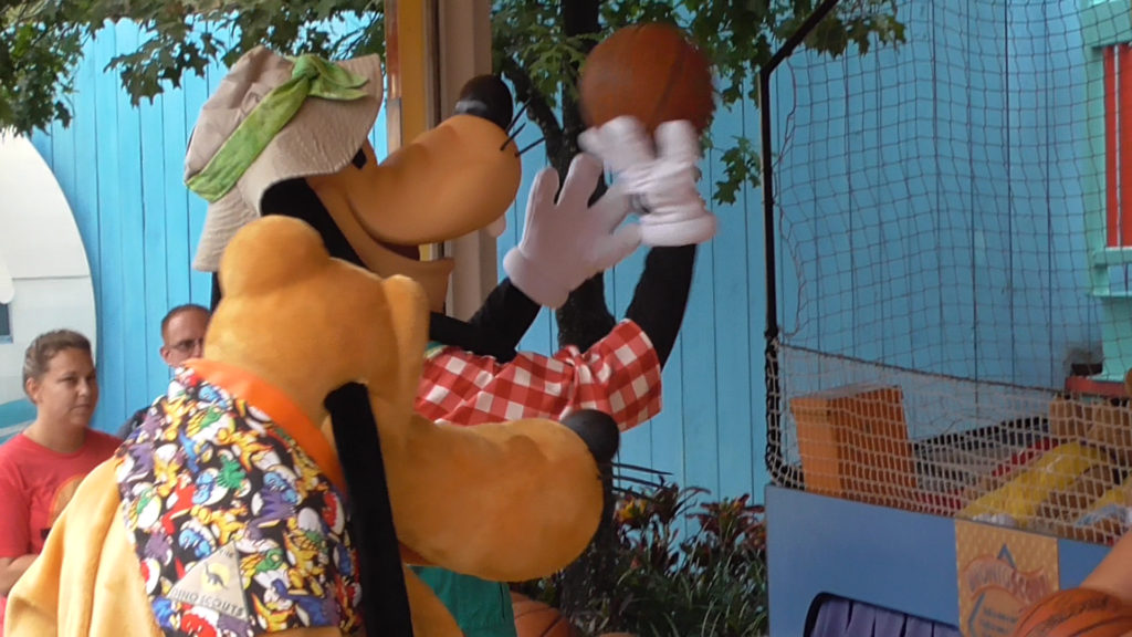 Shooting hoops with Goofy and Pluto