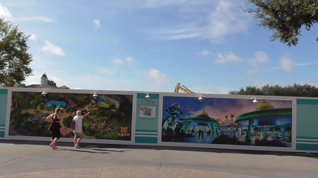 Walls covering a very empty back half of theme park