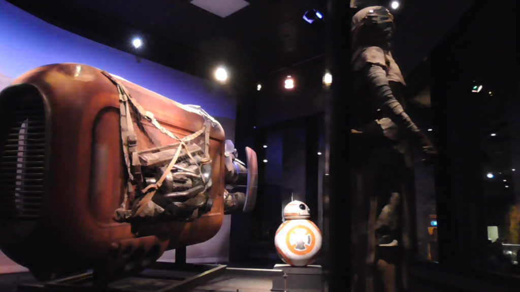 Rey's Speeder and BB-8 on display
