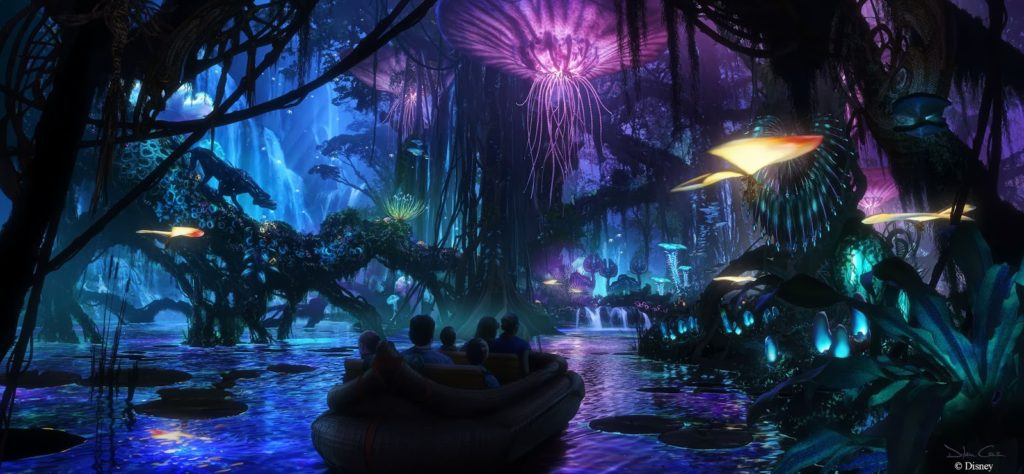 A second attraction will be a slow moving boat ride through a glowing jungle with animatronic figures