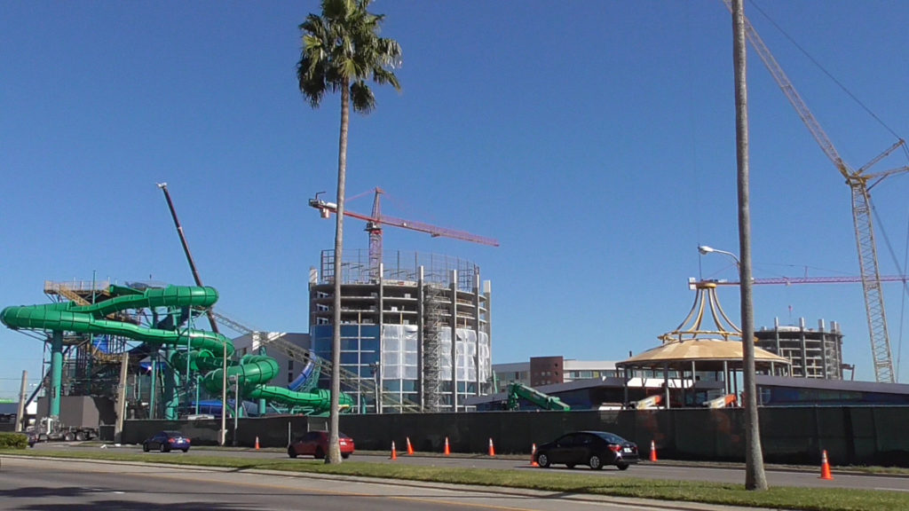 Family slides near Cabana Bay looking more complete