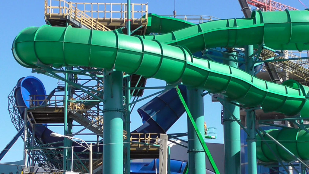 Closer view of family slide and blue funnel slide