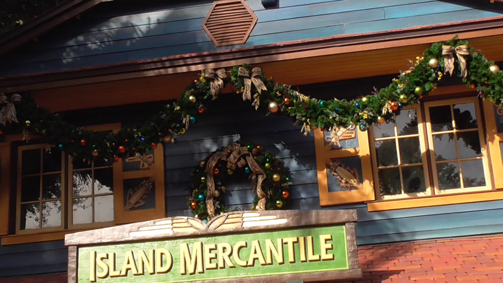 Holiday decor on all the buildings throughout most of the park