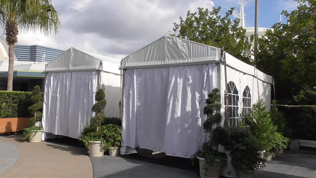 Cabanas are housed within small event tents