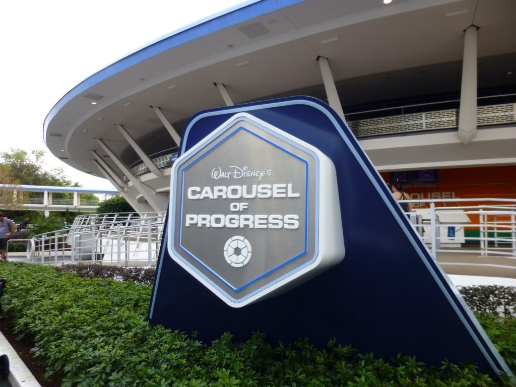 Carousel of Progress has received a shiny new sign to match its new paint scheme
